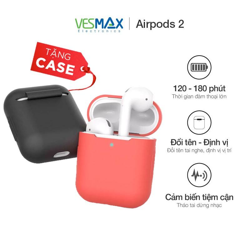 [Tặng case] Tai nghe không dây bluetooth Airpods 2 đổi tên định vị, cảm biến tiệm cận