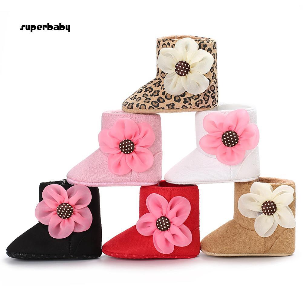 SBaby-Fashion Flower Infant Baby Girls Soft Anti-slip Boots Prewalker Toddler Shoes