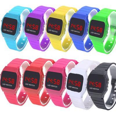 Đồng hồ nam nữ điện tử Led dây nhựa nhiều màu L787
