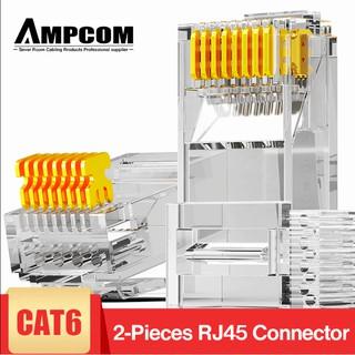 Hạt mạng AMPCOM RJ45 Connector Plug-Cat6 UTP loại 2 mảnh 50U (10c/túi) – AMCAT6250100
