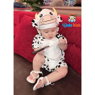 Body hình thú cho Bé hình Bò Sữa cotton ngắn tay có mũ cho bé 0-3 tuổi