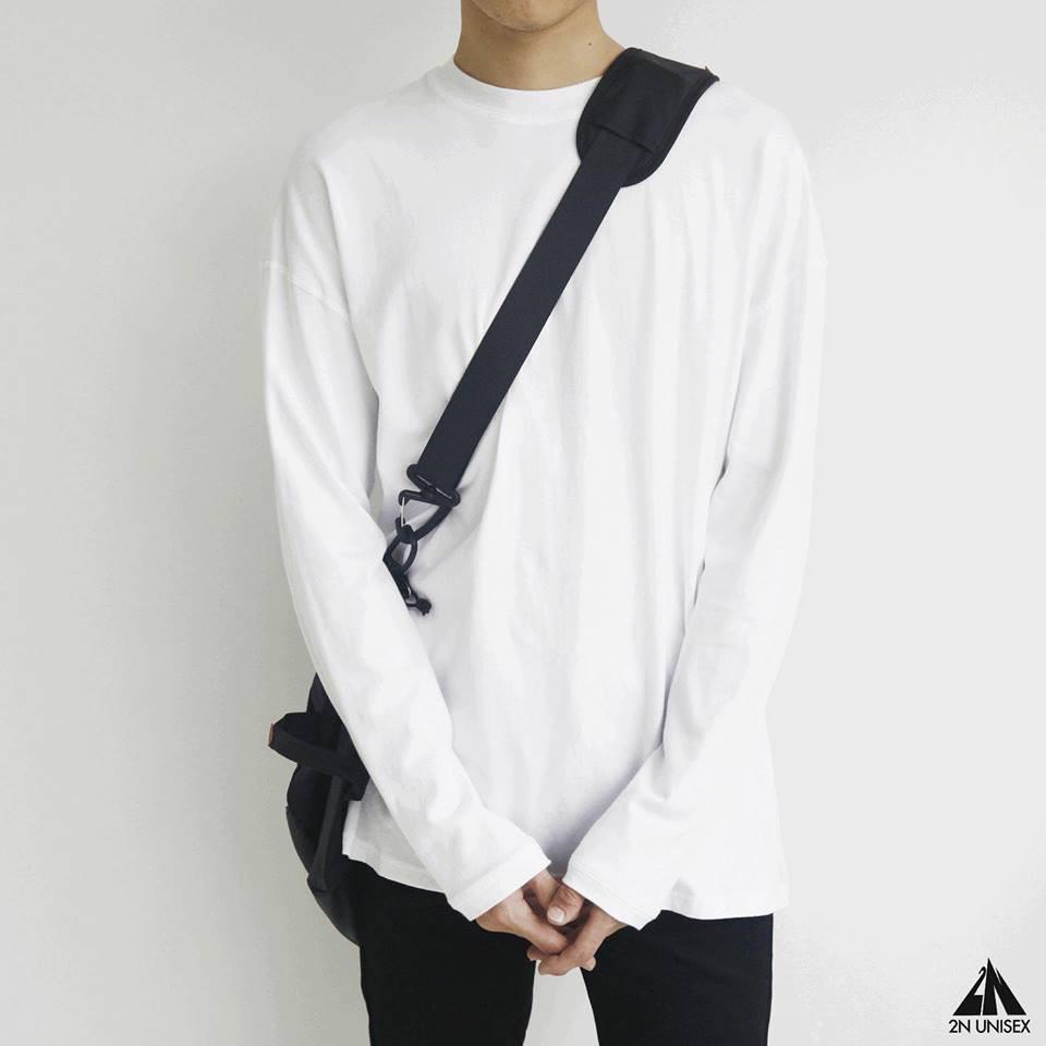 Áo thun tay dài trơn form rộng unisex - sweater basic