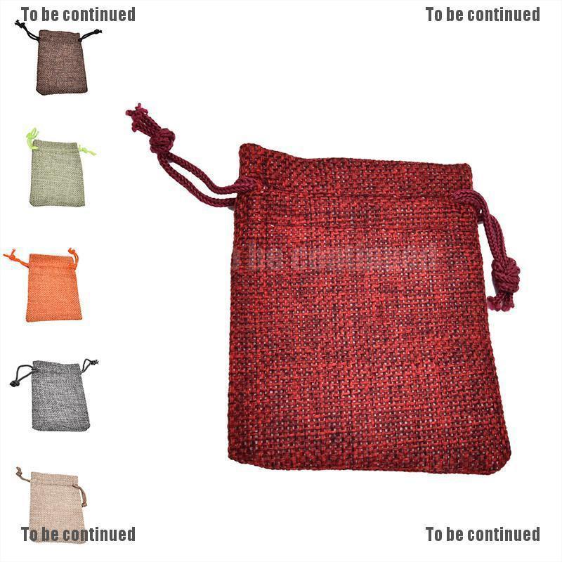 Bộ 10 Túi Dây Rút Bằng Vải Lanh Màu Trắng