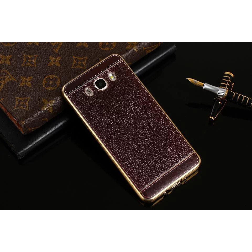 Ốp Samsung J510 vân da viền vàng cao cấp