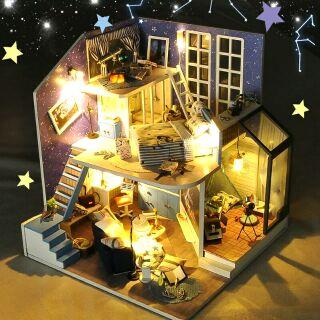 Kèm Mica – Mô hình nhà gỗ búp bê dollhouse DIY – TD15 Starry Sky