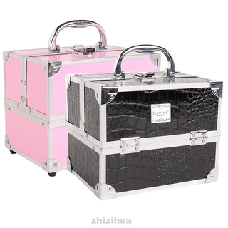 Lipsticks Large Space Salon Travel Jewelry Storage PU With Handle Makeup Cosmetic Case
