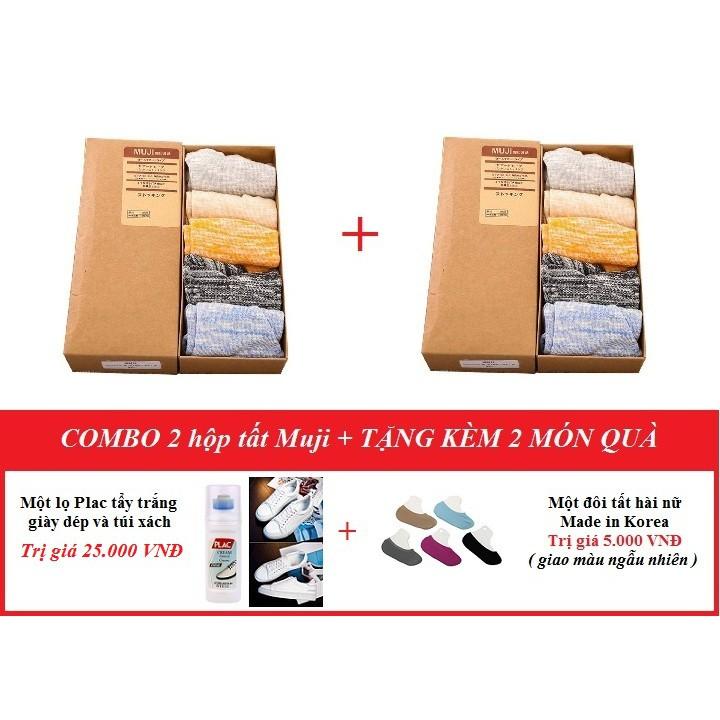 Combo 2 hộp - 10 đôi tất chống thối chân Muji + tặng kèm ( một chai Plac tẩy trắng giày dép và một đ - 10048076 , 790845161 , 322_790845161 , 300000 , Combo-2-hop-10-doi-tat-chong-thoi-chan-Muji-tang-kem-mot-chai-Plac-tay-trang-giay-dep-va-mot-d-322_790845161 , shopee.vn , Combo 2 hộp - 10 đôi tất chống thối chân Muji + tặng kèm ( một chai Plac tẩy tr