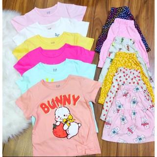 [Mã FAMAYFA2 giảm 10K đơn 50K] Set áo váy cotton cộc tay bé gái Gap kids