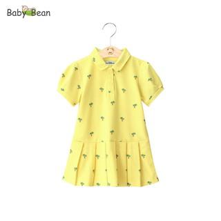 Đầm Thun Cá Sấu Tay Phồng Vạt Đuôi Cá in họa tiết Cây Xanh bé gái BabyBean thumbnail