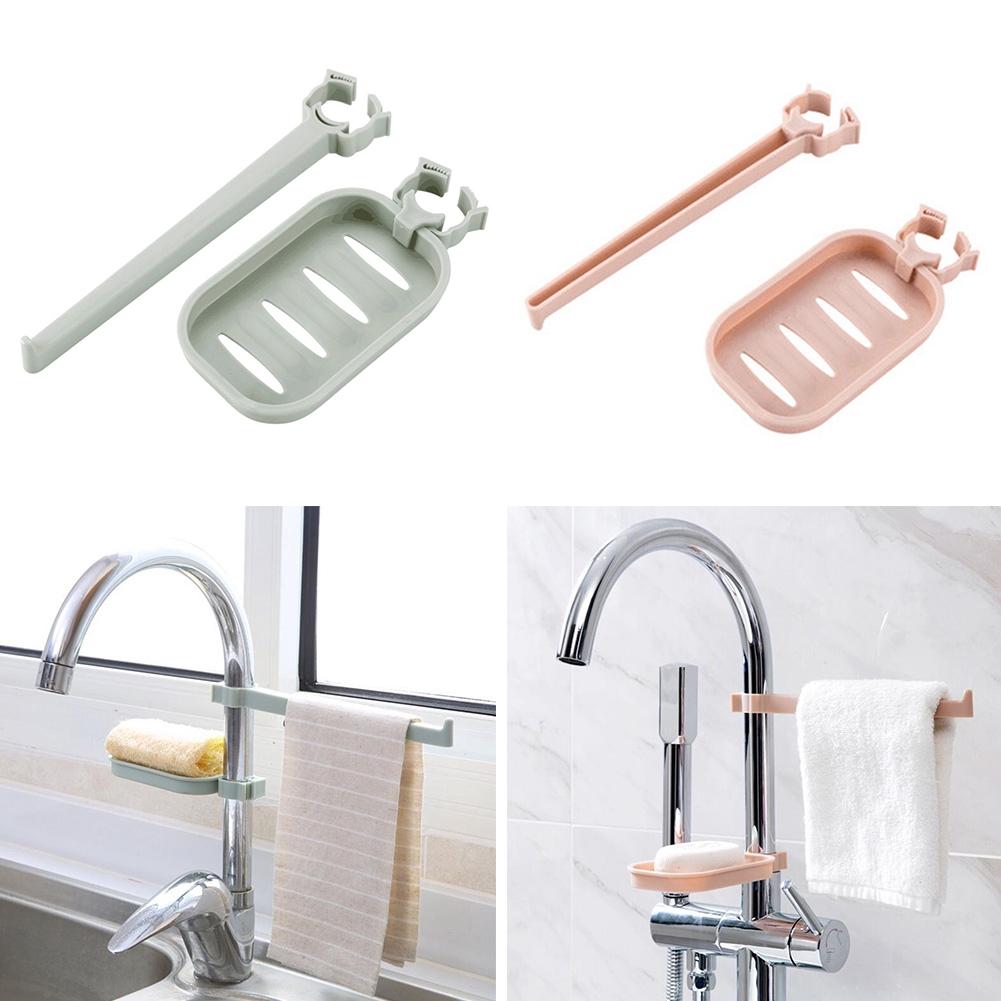 Faucet Sink Sponge Soap Kitchen Cloth Holder Bathroom Drain Storage Rack Set