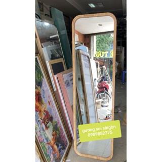 Gương soi toàn thân gỗ bo 4 góc.50x170cm có chân tựa