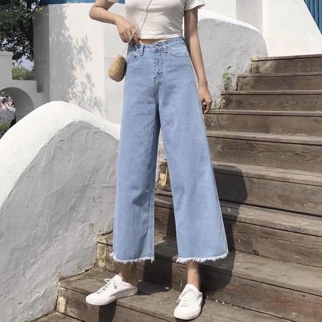 Quần Jeans Nữ Ống Rộng OHS3041
