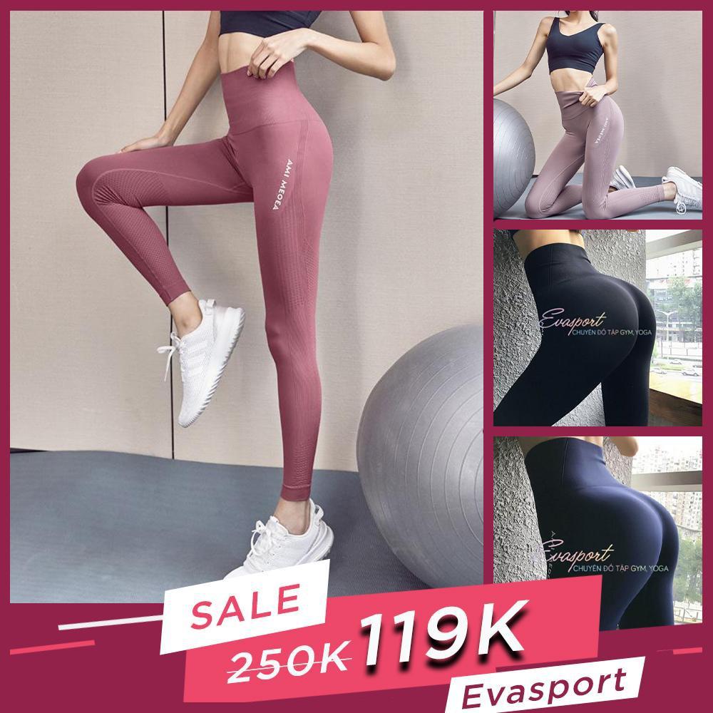 Quần legging cap cao tập gym yoga aerobic nữ AMI MEDEA vải dệt kim co giãn tốt mặc ôm dáng nâng mông tôn vòng 3