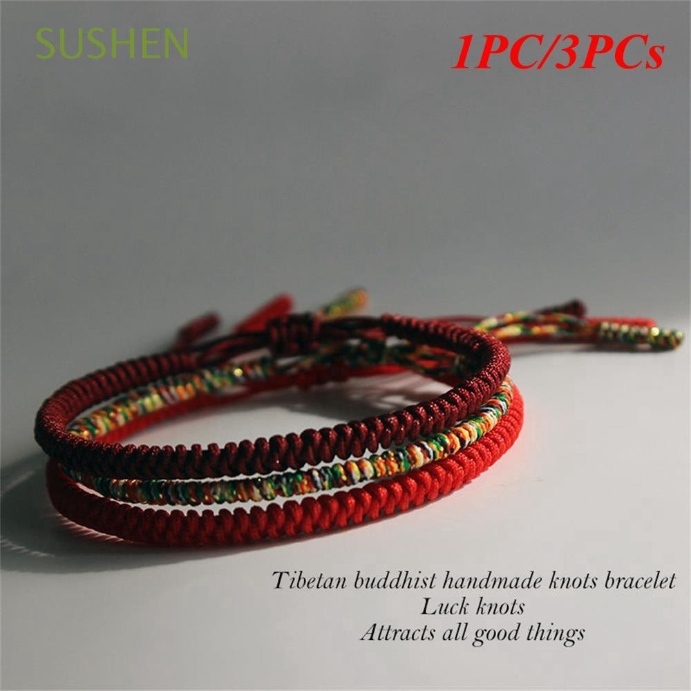 SUSHEN 1/3pcs Lucky Handmade Jewelry Adjustable Weave Tibetan Buddhist Knots Rope Bracelet