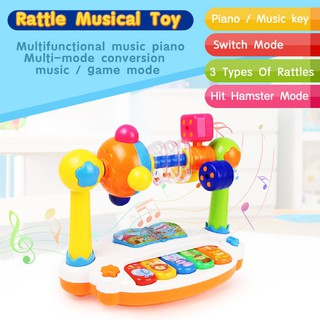 Funny Baby Rattle Keyboard Piano Musical Toys with Soft Light Baby Development Educational Toys for Kids Gift