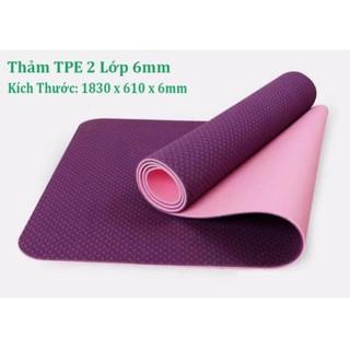 Thảm Tập Yoga, Thảm Tập Gym, Thảm Yoga Chống Trượt, Thảm Tập Thể Dục 2 Lớp 6 Mm – Tặng Kèm Túi Đựng.