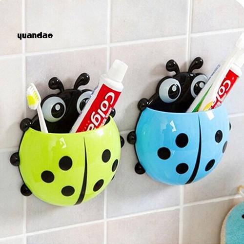 Giá đỡ bàn chải đánh răng dạng cốc hút gắn tường hình chú bọ rùa dễ thương