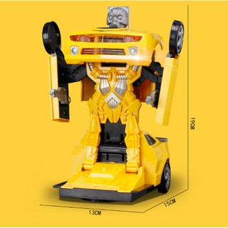Ô tô biến hình thành rô bốt Đồ chơi trẻ em Robot Transformer xe chạy pin có nhạc