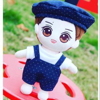 Set Yếm Xanh Chấm Bi Nhỏ [Outfit For Doll Kpop 20cm]