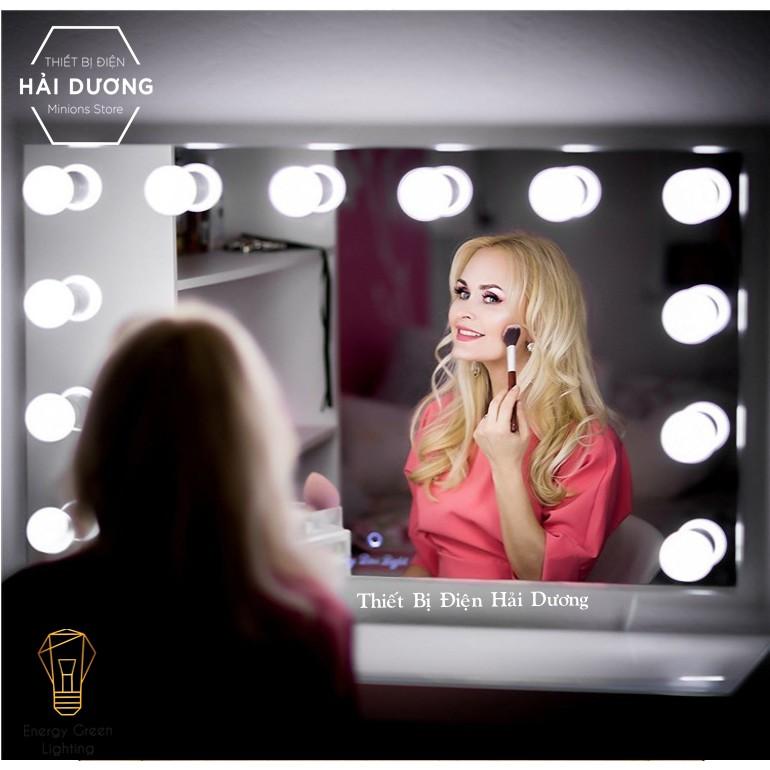 Set 10 bóng đèn LED chiếu sáng gương trang điểm BL-030 - Dán gương tiện lợi - 5 chế độ sáng - Tăng giảm ánh sáng