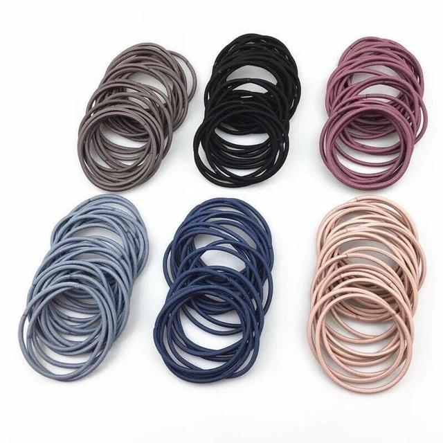 Set 100 dây buộc tóc siêu dai phong cách hàn quốc (1 túi mix nhiều màu)