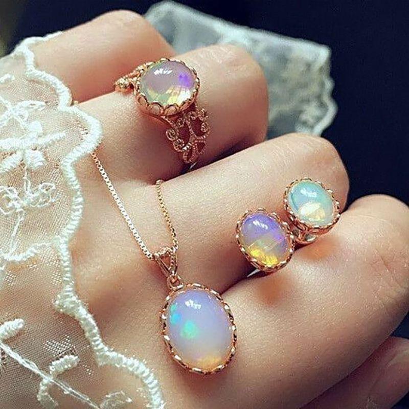Bộ nhẫn + dây chuyền + đôi bông tai đính đá thạch anh thời trang làm quà tặng ngày cưới