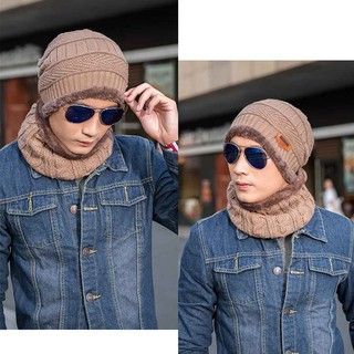 [Hàng nhập khẩu]Set mũ len beanie và khăn choàng cổ giữ ấm cho mùa đông