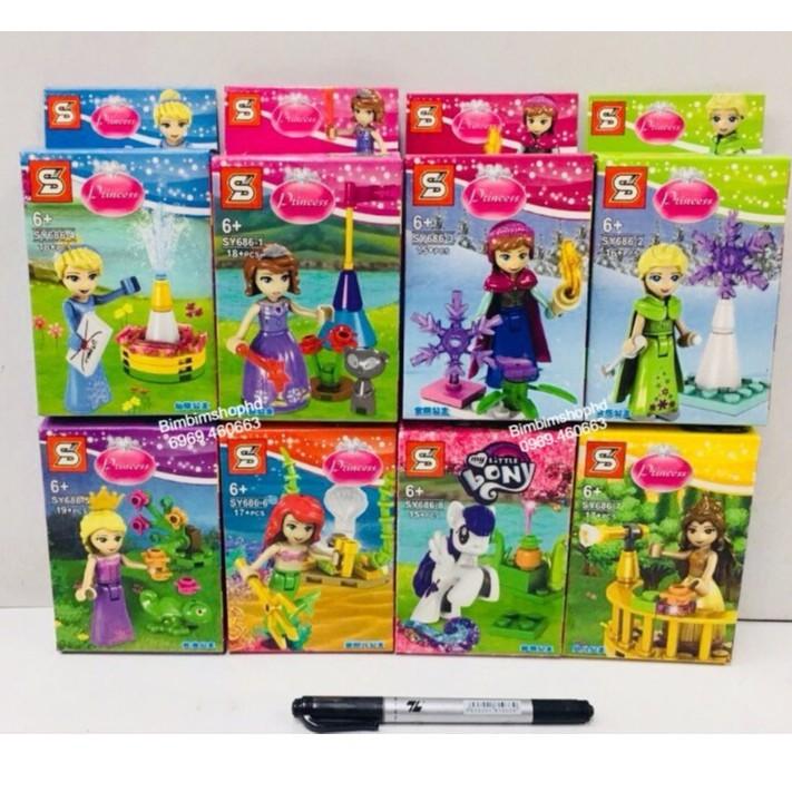 Lego Xếp Hình Các Cô Công Chúa Nổi Tiếng. Combo 8 Bộ Lego Lắp Ráp Đồ Chơi Cho Bé Gái