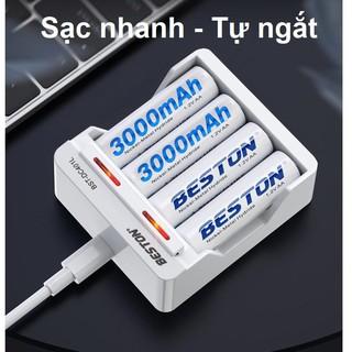 Pin sạc BESTON AA AAA, Sạc pin chính hãng BESTON, BẢO HÀNH 1 NĂM | Mic không dây, máy ảnh, điều khiển ( Pin 1.2V )