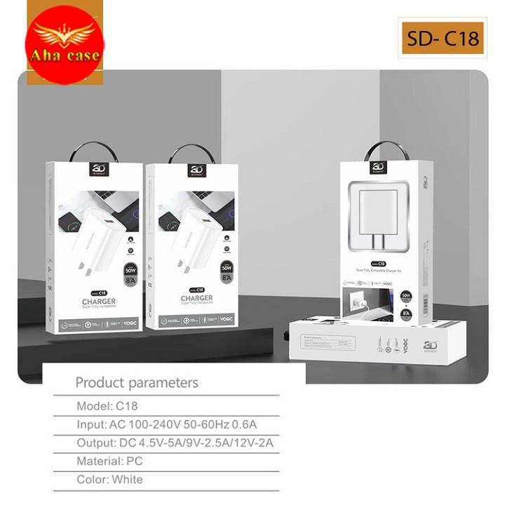 Củ sạc nhanh C18 chính hãng SD DESIGN sạc nhanh không hại máy dùng cho điện thoại iphone samsung, oppo Bảo hành 1 đổi 1