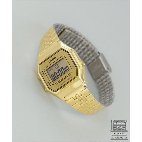 Đồng hồ casio điện tử nữ LA680 Gold dây kim loại không gỉ