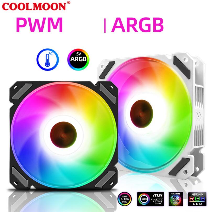 Quạt Tản Nhiệt, Fan Led RGB Coolmoon X3 Có Điều Tốc PWM - Led Sync Main 3 Pin 5v / Bộ Hub Coolmoon P-ARGB PWM