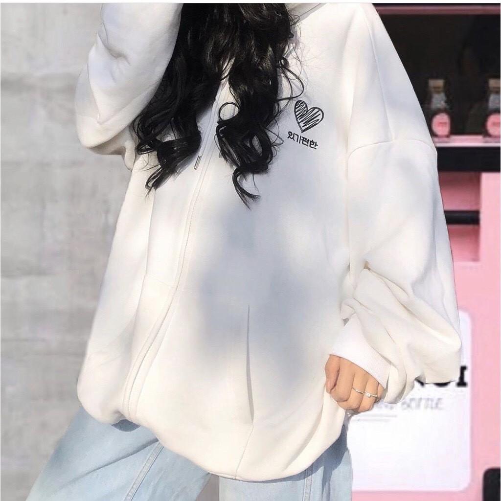 Áo khoác unisex WIND Nỉ Hàn Quốc Heart, áo khoác hoodie ulzzang WIND