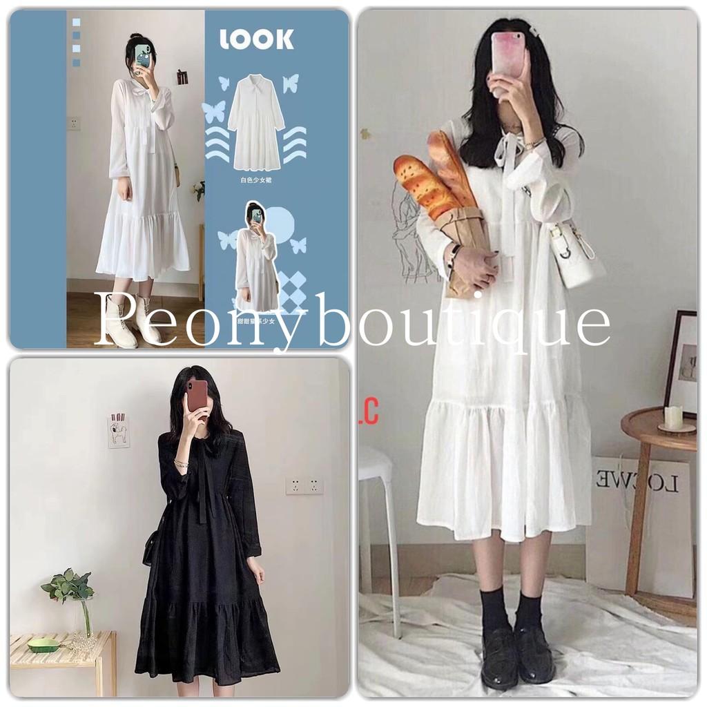 Váy Nơ 3 Tầng Dáng Suông Nữ [FREESHIP] 🌸 Đầm trơn dài tay bánh bèo tiểu thư màu ĐEN | TRẮNG Ulzzang HOT 🌸
