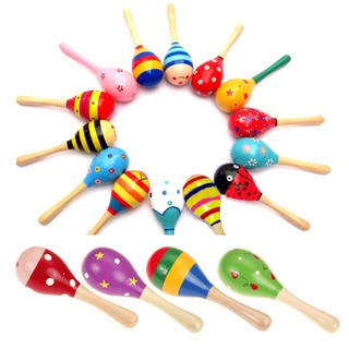 Baby Kids Sound Music Gift Toddler Rattle Musical Wooden Colorful Toys