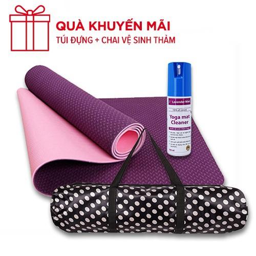 Thảm Yoga TPE EcoFriendly 8mm 2 lớp +Tặng chai xịt +Túi đựng thảm