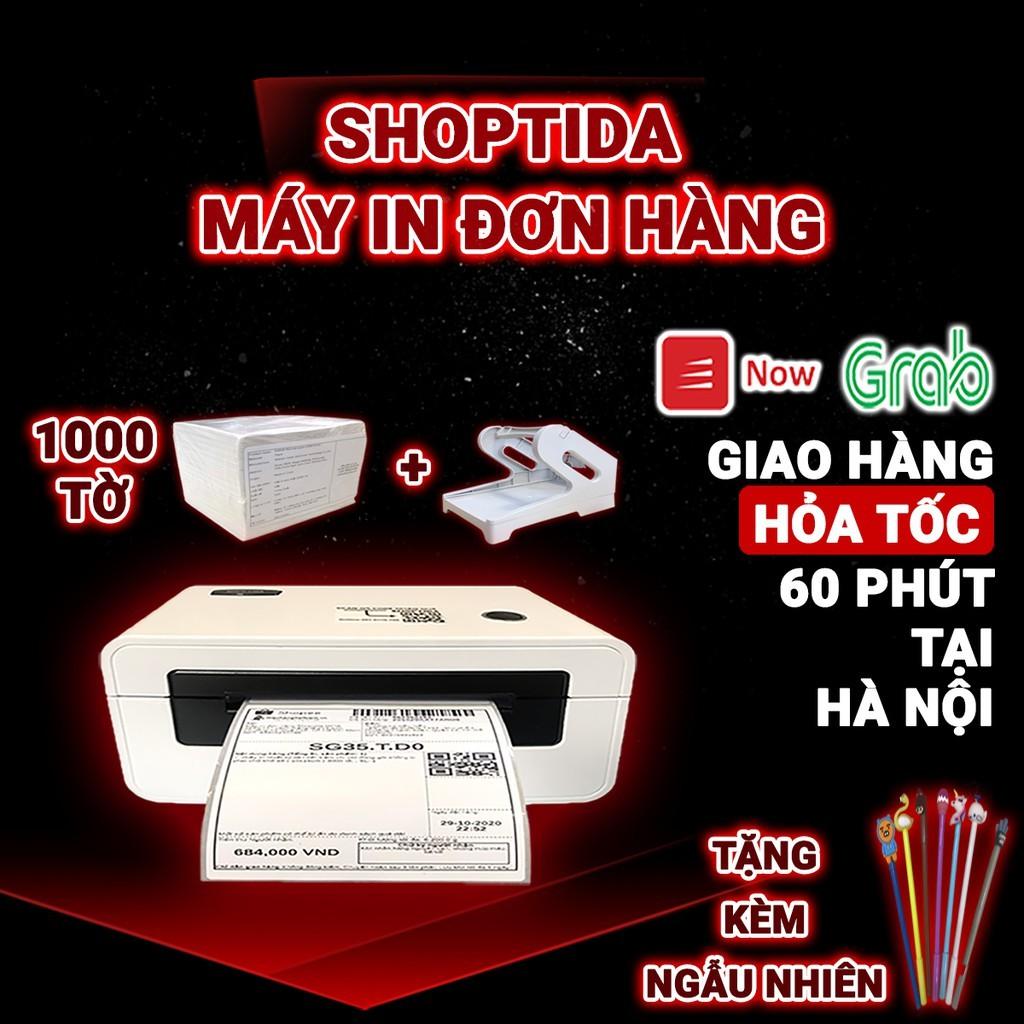 Máy in nhiệt Shoptida SP46 kèm 1000 giấy in nhiệt 10*15cm +khay, combo máy in tự dán