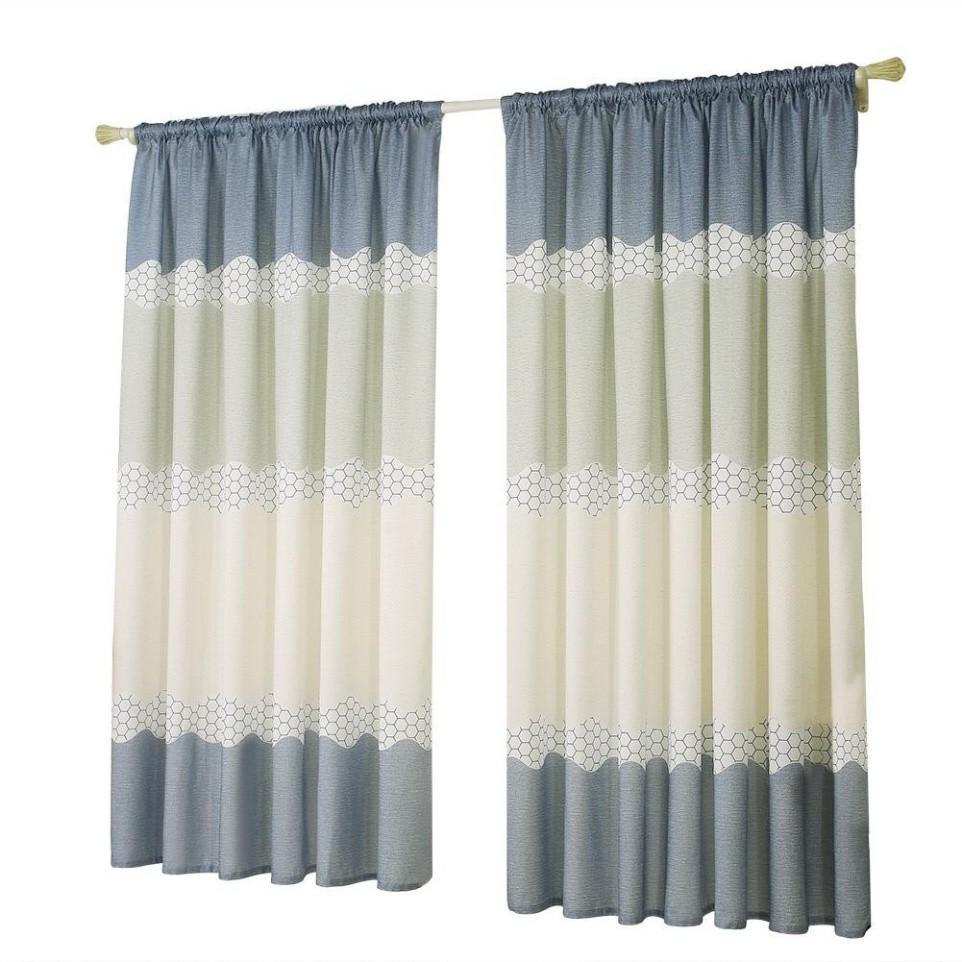 Sale 69% Rèm cửa sổ họa tiết trang nhã cho nhà ở kèm móc treo tiện lợi, Bluish grey Giá gốc 140000đ- 50C6