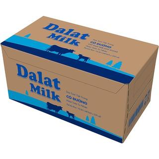 Thùng 48 bịch sữa tươi tiệt trùng Dalat Milk 220ml (có đường/ ít đường/ không đường)