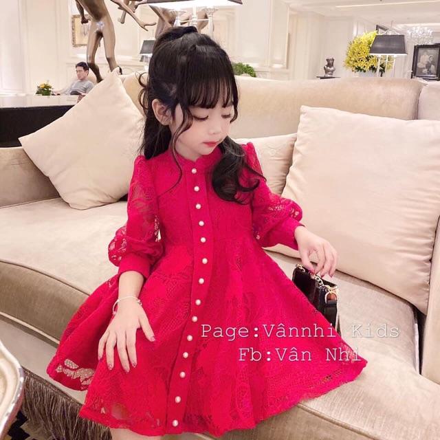 Váy ren dài tay công chúa cho bé gái