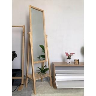 [𝐇𝐀𝐍𝐆 𝐂𝐎 𝐒𝐀𝐍] GƯƠNG ĐỨNG VIỀN GỖ THÔNG TỰ NHIÊN – gương đứng toàn thân – Gương decor – Gương gỗ mix kệ