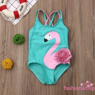 Bộ đồ bơi 1 mảnh in họa tiết hồng hạc xinh xắn cho bé gái