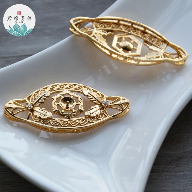Junyi blue silk pure gold plated gold pendant 20*43MM inlaid zircon handmade earrings 璎珞diy material jewelry ahagt01