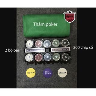 Bộ 200 phỉnh poker có số (chip poker) kèm thảm hàng nhập khẩu P04 ( có ảnh thật )