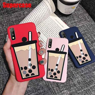 For OPPO Reno 10 F11 Pro F9 Pro R19 Realme 3 Case Milk Tea Matte Cartoon Korean Simple Cute Silicone Phone cover