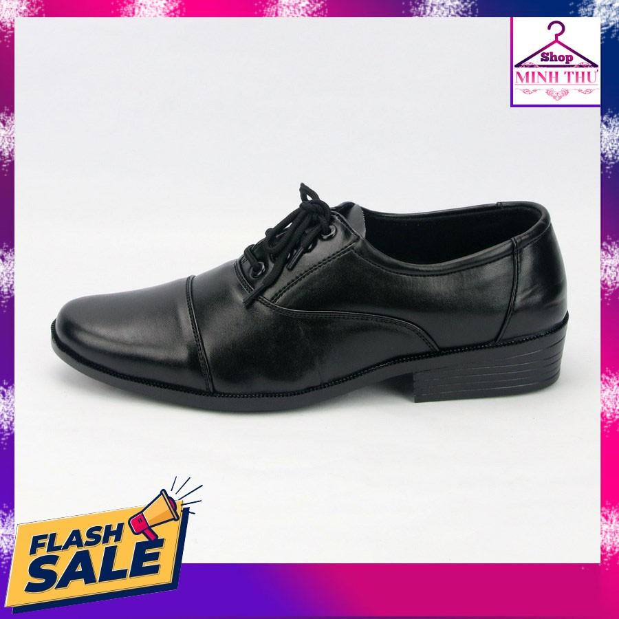 Giày tây nam thân đen đế đen có dây cột MT310 Shop Minh Thư