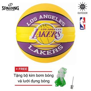 Bóng rổ Spalding NBA Team - Lakers Outdoor size 7 Tặng bộ kim bơm bóng và lưới đựng bóng
