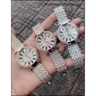 [TẶNG TAI NGHE BLUETOOTH] Đồng hồ nữ đẹp Royl Crow 4604 Rose Gold dây và mặt đính đá 7 màu đẳng cấp
