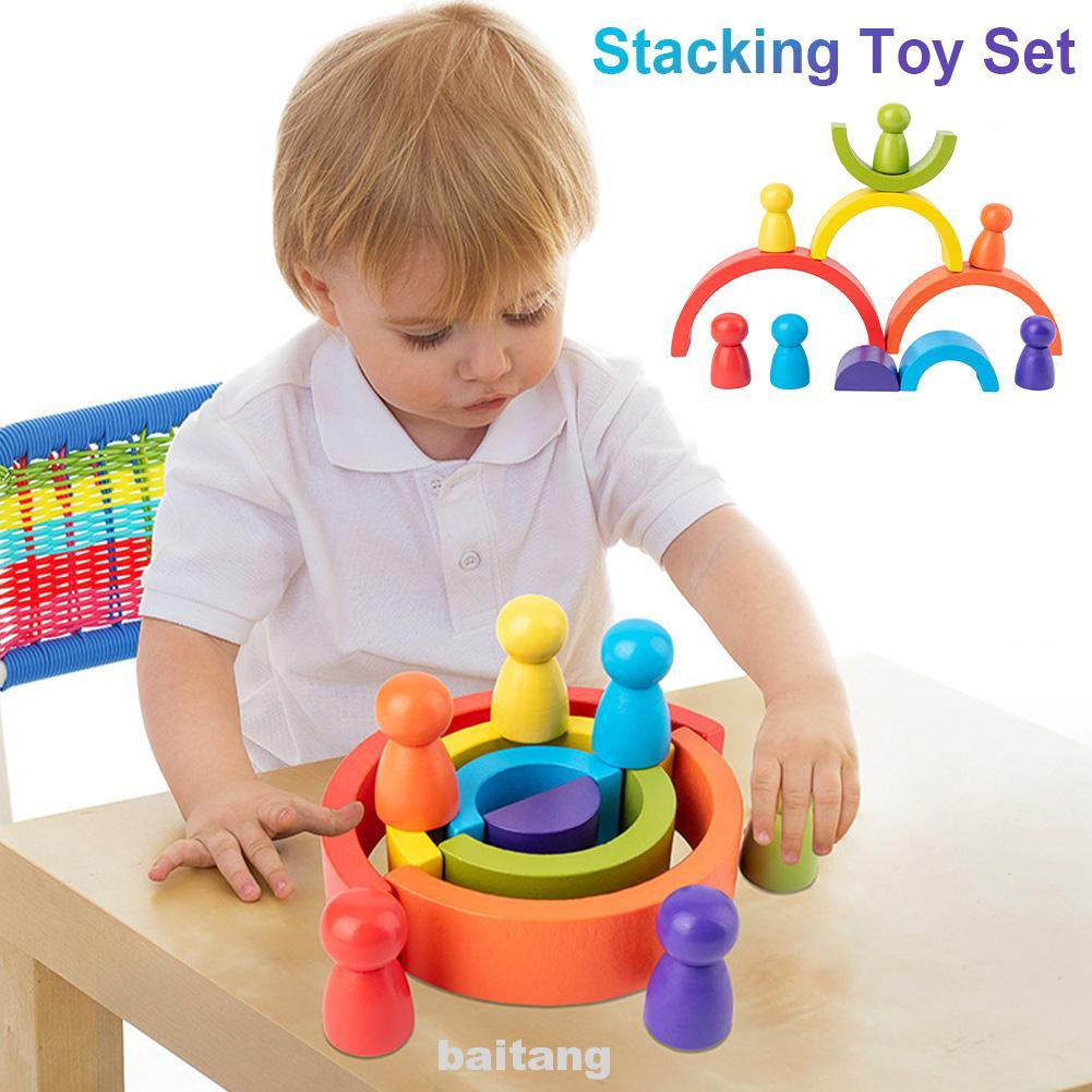 For Kids Birthday Gift Imagination Balancing Arched Stacking Toy Wooden Rainbow Building Blocks