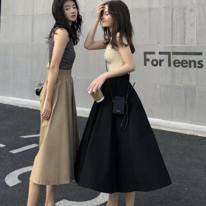 Chân váy kaki form dài hình thật vải bao đẹp-váy dài qua gối (63cm)